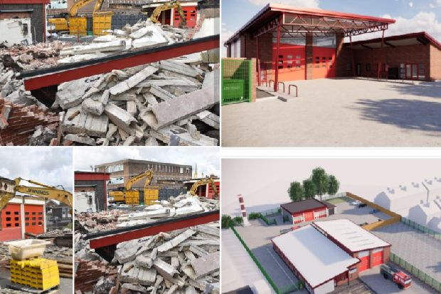 Bulldozers get to work on Wakefield Fire Station
