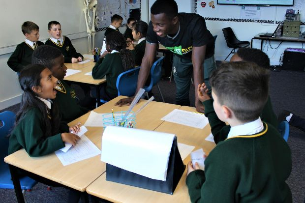 Leeds United's Eddie Nketiah visits Leeds primary school with anti-racism message