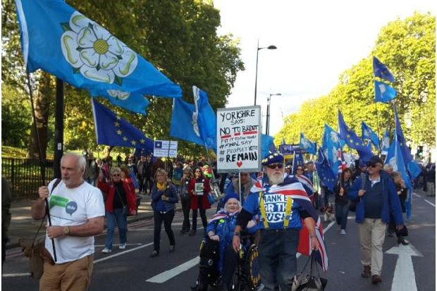 Yorkshire flag flown high at London People's Vote march