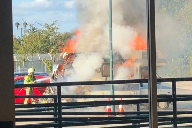 Fire crews rushed to Morrisons car park in Ripon after campervan bursts into flames