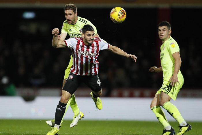 bdfa03dfd29 Chris Basham of Sheffield Utd challenges Neal Maupay of Brentford during  the Sky Bet Championship match