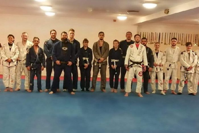 The jiu-jitsu trainees pictured following the incident, Image: Shane Mills.