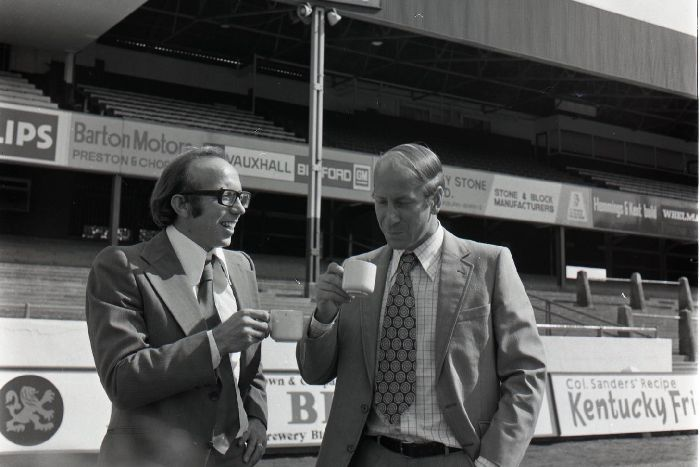 d5e8e9fb899 World Cup winners Nobby Stiles and Sir Bobby Charlton catch up during their  Preston North End