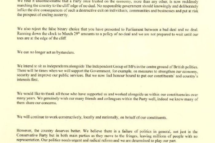 Read Resignation Letter Three Mps Quit Conservatives To Join New