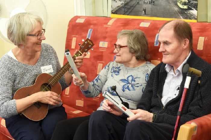 Janet Wright from Life Long Song with Julie Hanlon and husband James Hanlon at  a Life Long Song session at the the Charnley Fold Day Centre
