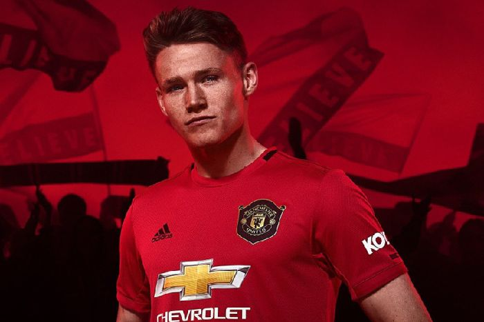 44db26ed124 ... home kit for 2019/20 season. Lancaster lad Scott McTominay models  United's new look