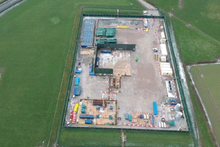 The Preston New Road site with the two gas flare stacks in the bottom right corner