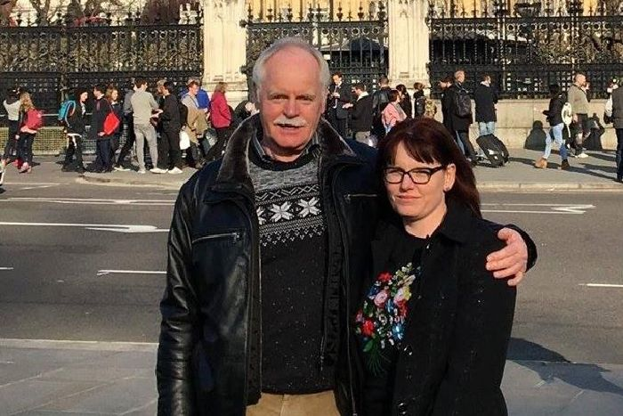Diane Matthews pictured with her dad Dave Berry at the Houses of Parliament in March 2017.