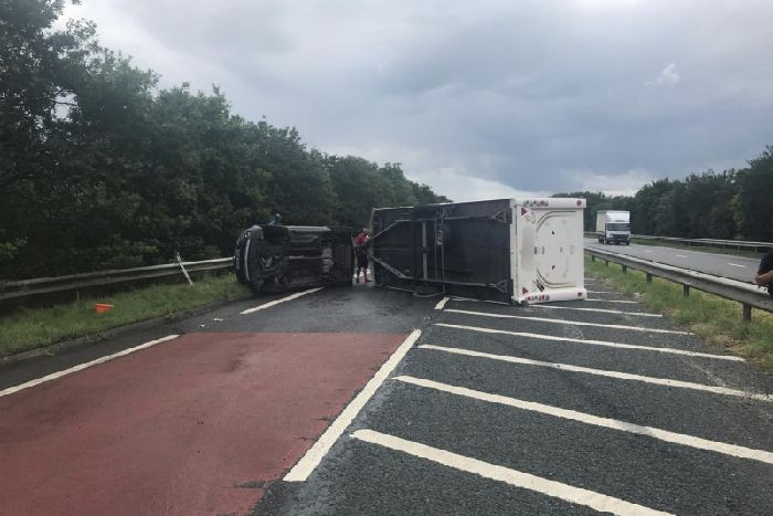 Major delays after caravan overturns on A64 route from Leeds to