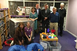 Library staff and Friends of Knaresborough Library volunteers unveil the new chill out room.