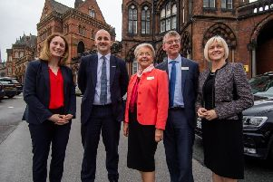 Jake Berry, Minister for the Northern Powerhouse and Local Growth, during his visit to Leeds General Infirmary. Pictured (left to right) Eve Roodhouse, chief officer for economic development at Leeds Council; Mr Berry; Linda Pollard, chair of Leeds Teaching Hospitals Trust; Julian Hartley, chief executive of Leeds Teaching Hospitals Trust; Prof Lisa Roberts, deputy vice-chancellor: research and innovation, at University of Leeds. Picture by James Hardisty.