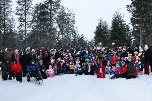 All of the families and WYWUAS team together in Lapland.