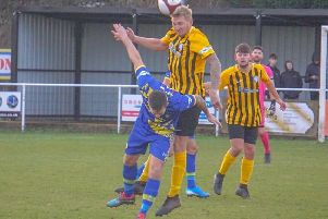 Action from Worksop Town's home defeat.