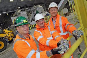 Inside the new specialised fuel production plant at Tarmac's Tunstead cement works. From left: Dave Lea, site manager; Andrea Magro, Tarmac cement, head of industrial; David Wilson, Sapphire commercial manager.