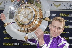 Jockey Ryan Moore celebrates victory in last year's William Hill St Leger on Capri. Is he in line for a repeat on Kew Gardens on Saturday?