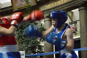 Young Ethan Ransom looking sharp on his competitive debut for Buxton Amateur Boxing Club.
