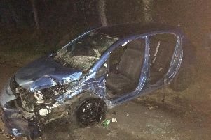 Photo of the car containing the mother and son after they had been cut out of the vehicle.
