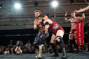 Nathan Cruz in wrestling action. Photo: Tony Knox