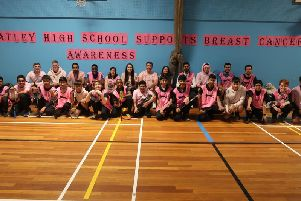 PINK Zaheer Jaffary (far right) with some of the Batley pupils who took part in Wear it Pink Day