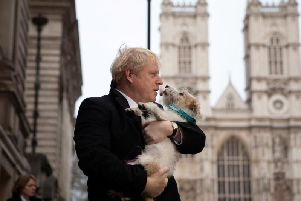 Prime Minister Boris Johnson after casting his vote in central London today. Pic: PA
