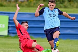 Alfie Raw scored both goals as Liversedge drew 2-2 at leaders Penistone Church last Saturday. Picture: Paul Butterfield