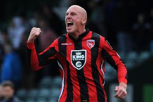 YEOVIL, ENGLAND - SEPTEMBER 05:Kevin Ellison of Morecambe celebrates victory  during the Sky Bet League Two match between Yeovil Town and Morecambe at Huish Park on September 5, 2015 in Yeovil, England.  (Photo by Harry Trump/Getty Images)