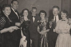 Having a ball: Local licensees pictured at the annual Licensed Victualler's Ball in Dewsbury Town Hall in the early 1950s. Edith and Harry Ellis are the couple pictured third from the left.