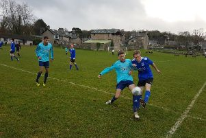 Arnside (dark blue) v Highgrove in the North Lancs Football League Premier Division. Picture: Michael Ball.