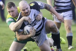 Ben Kendall bagged a hat-trick of tries includig a spectacular 90 metre effort as Mirfield Stags defeated local rivals Hanging Heaton to stay top of Pennine League Division One. Picture: Allan McKenzie