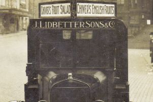 Delivery Van: This picture, kindly provided by Stuart Hartley, shows one of Dewsbury's oldest grocery shop vans ' Lidbetters ' situated in Market Place. It was one of the first vehicles to be built here in Dewsbury.
