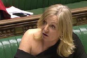 Tracy Brabin wearing the dress. Photo: Parliament.tv