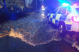Flooding in Cooper Bridge. Photo by West Yorkshire Police.