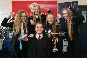 Emily Asquith back at school with her mates.