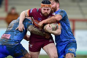 Batley Bulldogs forward Michael Ward drives at the heart of the Barrow Raiders defence during last Sunday's Betfred Championship game. Picture Paul Butterfield