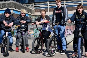 Jake Butterfield (standing) has led a petition to keep a skatepark in Spenborough.