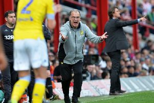 An animated Marcelo Bielsa shouts instructions at his players during Leeds United's 2-0 defeat to Brentford.