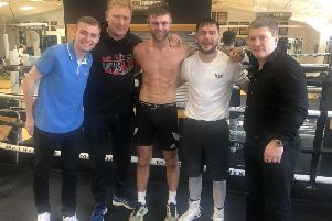 Reporter Jay Whittle with Lee Blundell, James Moorcroft, Conah Walker and Ricky Hatton