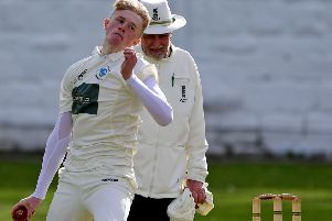Heckmondwike and Carlinghow bowler George Crowther in Bradford League Conference action at Sandal last Saturday.