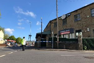 Brooklands bar on Bradford Road in Batley cordoned off by police after reports of an assualt in the early hours of the morning.