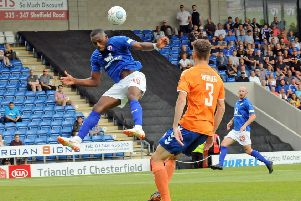 Chesterfield FC v Braintree Town'Gozie Ugwu fails to find the net in the first half.