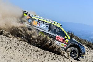 Chesterfield driver Rhys Yates in action on his Rally de Portugal debut.