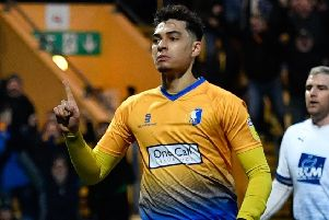 Mansfield Town's Tyler Walker celebrates scoring the Stags second goal: Picture by Steve Flynn/AHPIX.com, Football: Skybet League Two  match Mansfield Town -V- Tranmere Rovers at One Call Stadium, Mansfield, Nottinghamshire, England on copyright picture Howard Roe 07973 739229