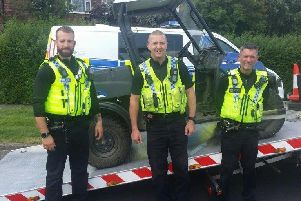 Farm vehicles which were stolen from the Manston area of Leeds have been found in Seacroft. Pictured: PC Kinnon, PC Johnson and PC Bolland. Photo provided by WYP Leeds East.