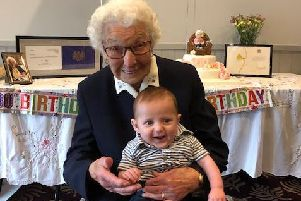 Mabel Fagg with great-great-grandson Max Bednnll