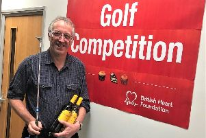 Lubrizol senior research chemist John Durham who won the crazy golf competition for the British Heart Foundation.