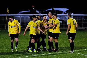 Belper celebrate George Milner's winning penalty versus Sutton Coldfield. Pic by Tim Harrison.
