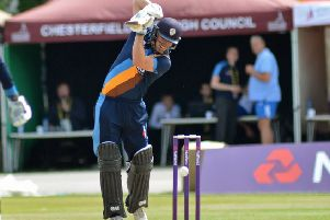 New Notts signing Ben Slater pictured in action for Derbyshire on his home town wicket of Chesterfield