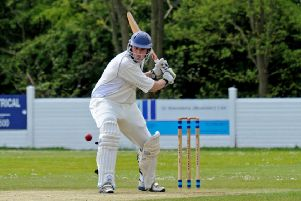Denby CC v Rolleston CC.'Daniel Burgoyne in batting action for Denby.