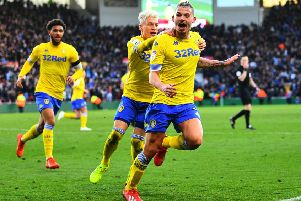 Kalvin Phillips celebrates his late equaliser for Leeds united at Middlesbrough. Picture: Jonathan Gawthorpe
