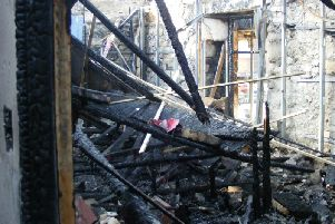 The devastating aftermath of the fire that tore through the Storm Art Gallery in Padiham.